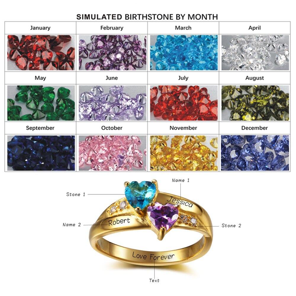 Nom personnalisé anneau 2 coeur pierre de naissance 925 argent Sterling cubique zircone anneau idée cadeau d'anniversaire (bijouora RI102346) - 3