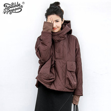 Двойной кукольный куртка с капюшоном Женская мода зимняя куртка женские с хлопковой подкладкой Лидер продаж Женская верхняя одежда 364027