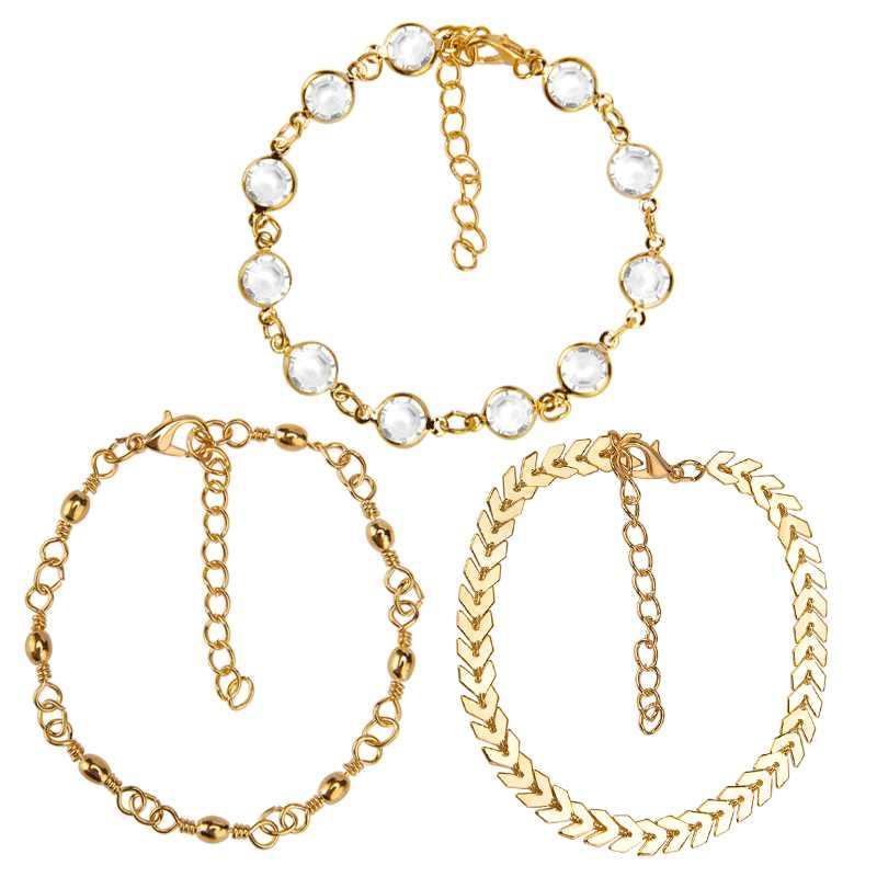 アンクレットファッション 3 点セットゴールド色チャーム足首ブレスレット Halhal ジュエリー女性インディアンジュエリー脚ブレスレット