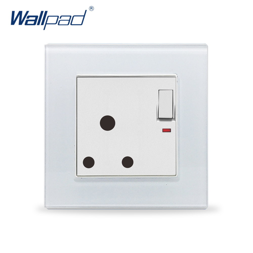 16A 15A Switched Socket Wallpad Luxury Crystal Glass Panel 110V-250V 3 Round Pin South Africa 15A Switched Socket with LED16A 15A Switched Socket Wallpad Luxury Crystal Glass Panel 110V-250V 3 Round Pin South Africa 15A Switched Socket with LED