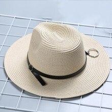 a2848ad5 oZyc 2018 New women Summer Fedora Male flat brimmed straw hat sun hat beach  hat