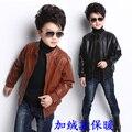 Frete grátis Masculino roupas de couro criança jaqueta roupas de outono e inverno das crianças criança menino criança PU além de veludo outerwear