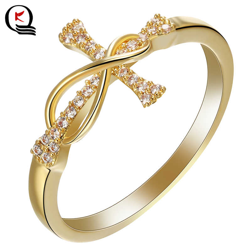Classic Gold Color Cross Inlay White Crystal Rhinestone Finger Ring Women Engagement Wedding Party Jewelry Size 6 7 8 9 10 11