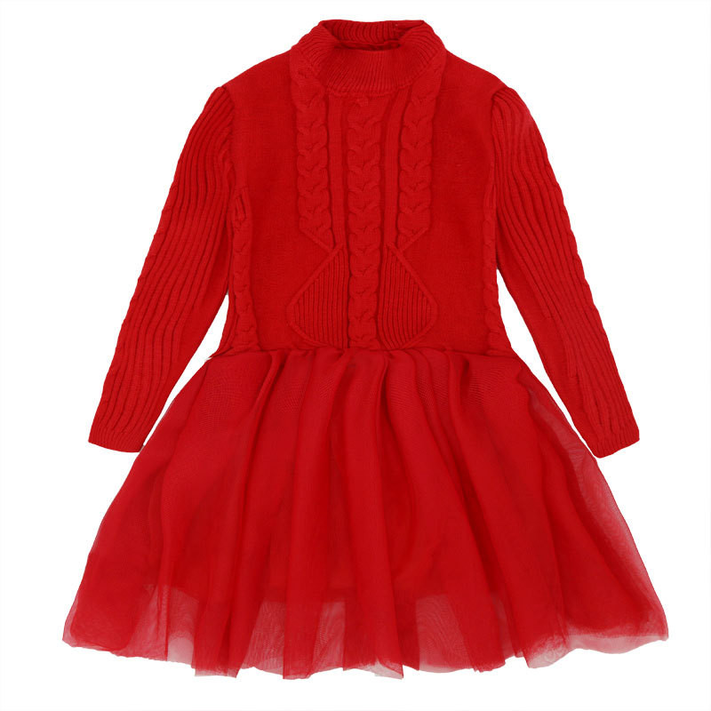 Autumn Thick Warm Girl Dresses Princess Knitted Birthday Party Gift 7 Year Kids Sweater TuTu Dress Girl Cloth Children Clothing girl sweater dress superfine wool knitted dress 2015 o neck pocket long sweater tassels christmas children clothing kids dresses