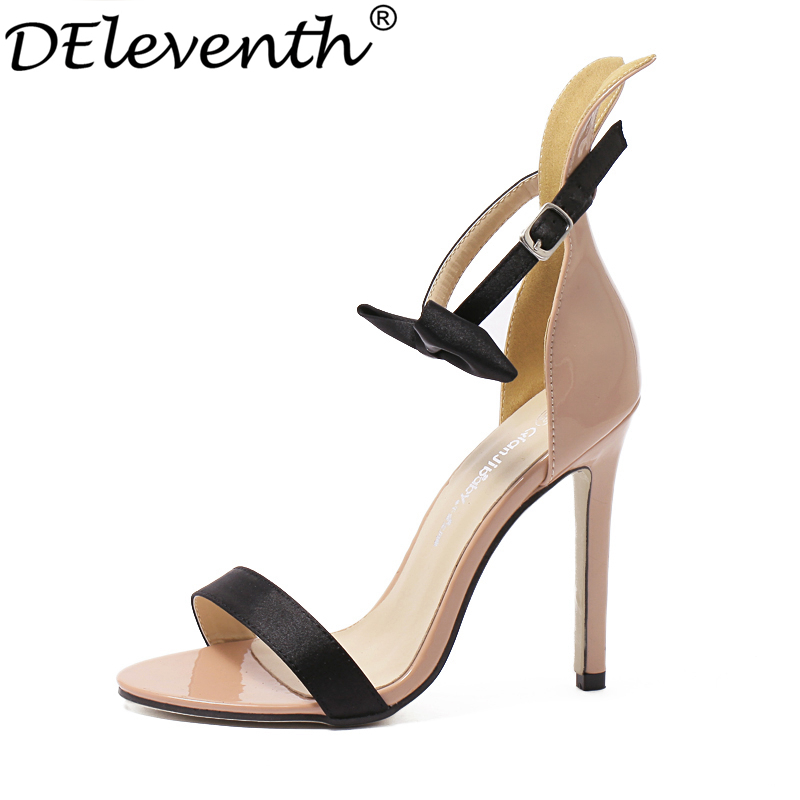 2016 Summer New Fashion socialite Sweet Shoes Bowties Ribbit Pointed Toe High Thin Heels Ankle Strap  Women Sandals Party Shoes wholesale lttl new spring summer high heels shoes stiletto heel flock pointed toe sandals fashion ankle straps women party shoes