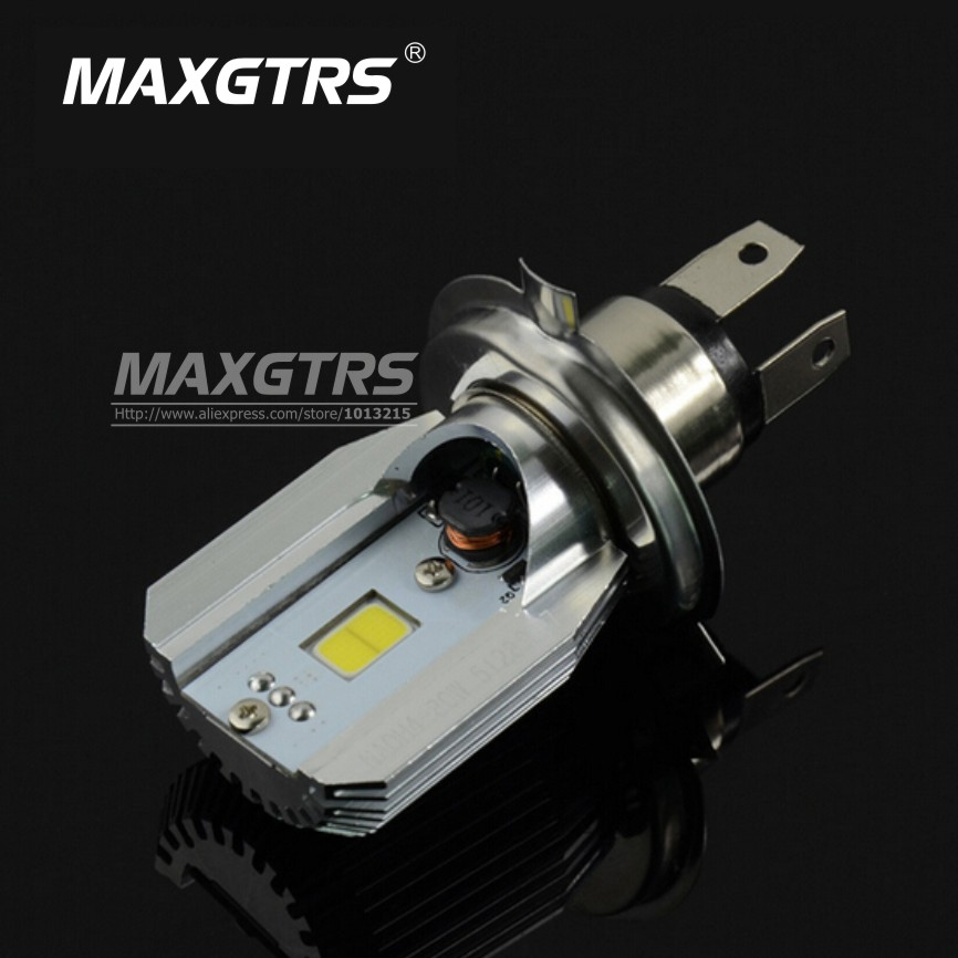 2017 COB LED Motorcycle DC6-80V Motorbike Headlight H4 BA20D Motor Bike Fog Lamp Bulb Light Moped Scooter ATV Hi Lo Beam Bixenon