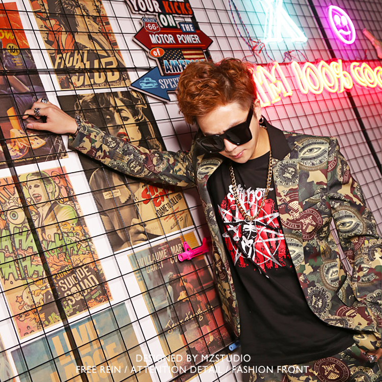 Hot Summer New Male Singer Blazer DJ Nightclub DS Hip Hop Rocky Camouflage Suits Men Fashion Costume Suit Large size Jacket A367