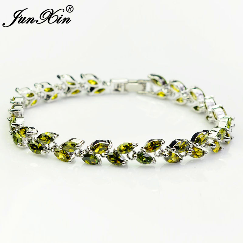 Us 11 67 20 Off Women Aaa Zircon Peridot Charm Bracelets 10kt White Gold Filled Bracelet Fashion Jewelry Accesorios Gift Luxury Br0060 In Chain