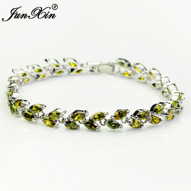 Women Aaa Zircon Peridot Charm Bracelets 10kt White Gold Filled