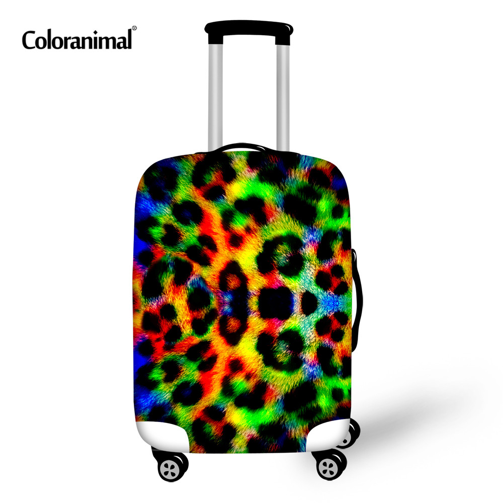 Coloranimal Colorful Tiger Footprints Leopard Print Suitcase Elastic Thick Cover For 18-30 Inch Spandex Protective Case Covers