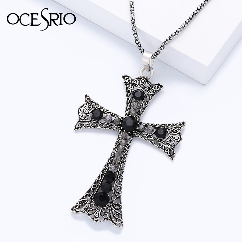 Ocesrio New Black Big Cross Pendant Necklace With -9282