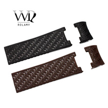 Rolamy 22mm Wholesale Black Brown Waterproof Silicone Rubber Replacement Wrist Watch Band Strap Belt For Ulysse Nardin