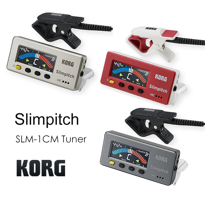 Korg Slimpitch SLM-1CM Chromatic Tuner with Contact Microphone, 12-Note Equal Temperament