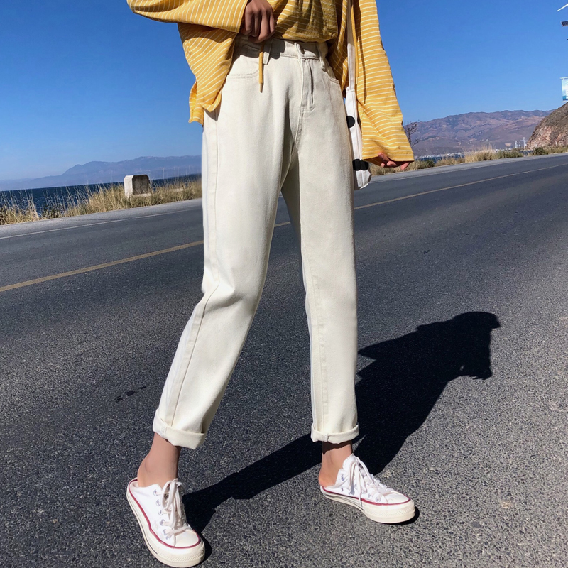High Waist Jeans woman 2019 wide leg pants Women Straight Casual Bf Style Slim Trousers Female Denim Cotton Jean in Jeans from Women 39 s Clothing