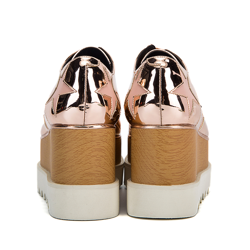 Newest 2018 Spring Autumn Champagne Star High Platform Shoes Lace up Casual  Sponge Shoes For Women height Increasing Shoes-in Women s Flats from Shoes  on ... 91e329f6a64e