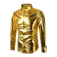 Shirt 2018 New Mens Trend Night Club Coated Metallic Gold Silver Button Down Shirts Party Shiny Long Sleeves Dress Shirts