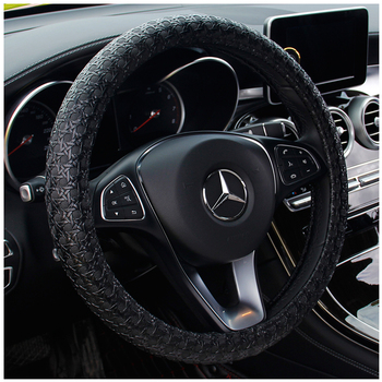 KKYSYELVA Car Interior Accessories Black Auto Sports Steering Wheel Cover Leather +Carbon Fibe38cm Vehicle Truch Steering Covers kkysyelva 7 colors d shape steering wheel black auto car steering wheel cover leather 38cm wheel cover interior accessories