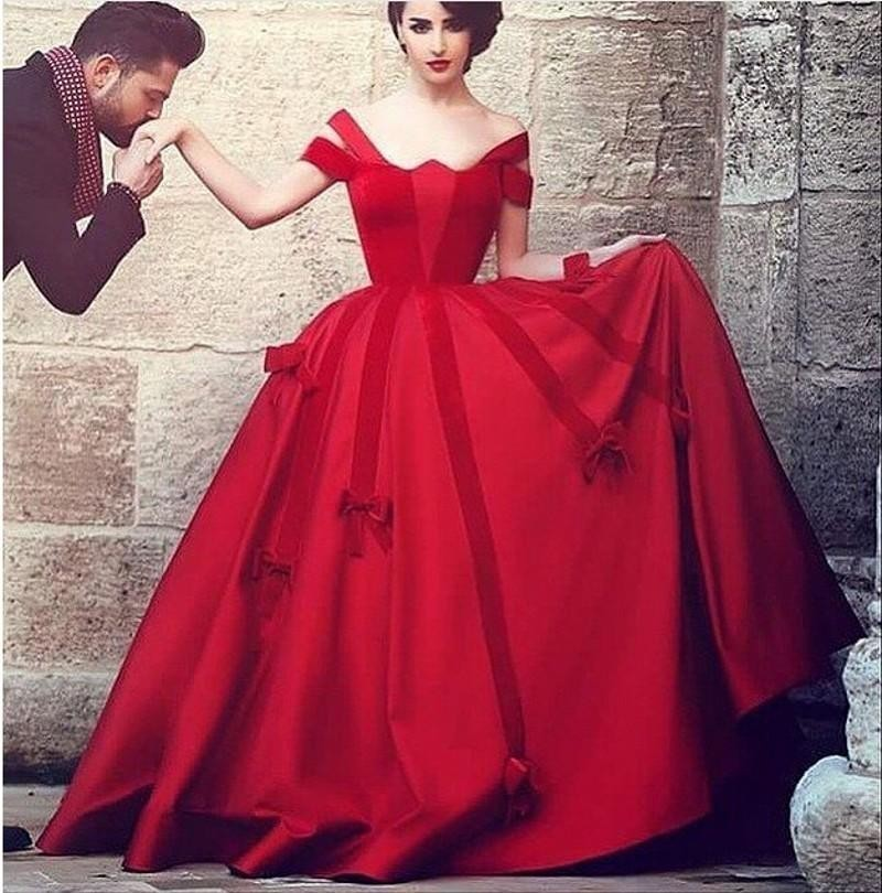 Off the Shoulder Red Prom Dresses