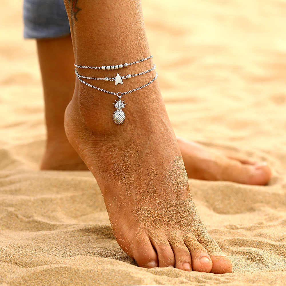 EN Ankle Chain Pineapple Pendant Anklet Beaded 2019 Summer Beach Foot Jewelry Fashion Style Anklets for Women