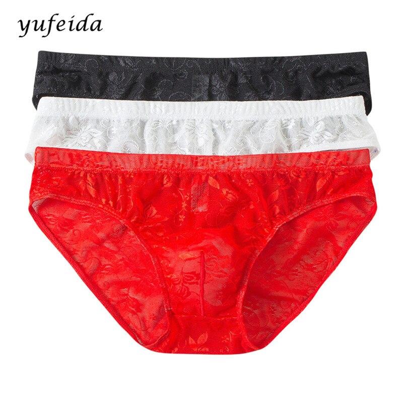 Buy 3PCS/Lot Sexy Men Lace Underwear Briefs Shorts Bulge Pouch Soft Comfortable Breathable Male Normal Briefs Underpants