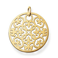 TS Jewellery Yellow Gold Plated Arabesque Ornament Pendant with Eyelet Fit Necklaces, Thomas Style Glam & Soul Jewelry for Women