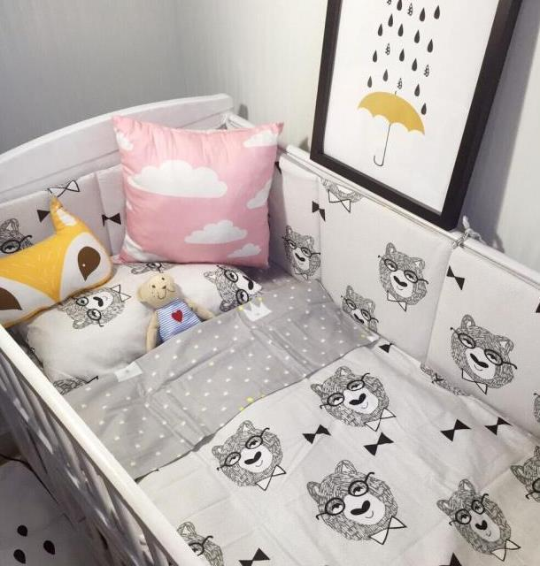 Cotton Bed Bumper Printed Cartoon Bear Crib Bumper Baby Bedding Sets Baby Bed Cot Sheet Quilt Cover Pillow Case Bedding