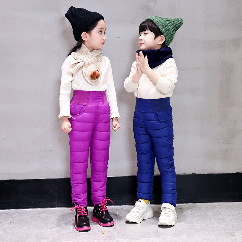 Winter breathable padded high waist baby girls thick cotton Down trousers boys kids warm pants children parka bottoms 70-126cm winter down pants for boys & girls children s fashion solid parka warm trousers casual elastic waist straight kids pants outwear