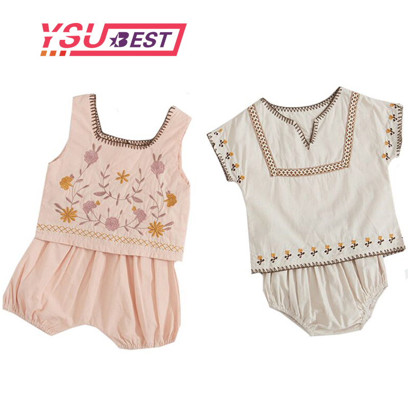 2pcs Toddler Baby Girls National Suit Sleeveless Blouse+Pants Summer Clothes Set
