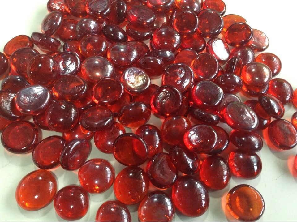 Red Glass Stone : Wine red glass stone burgundy color maroon flat beads