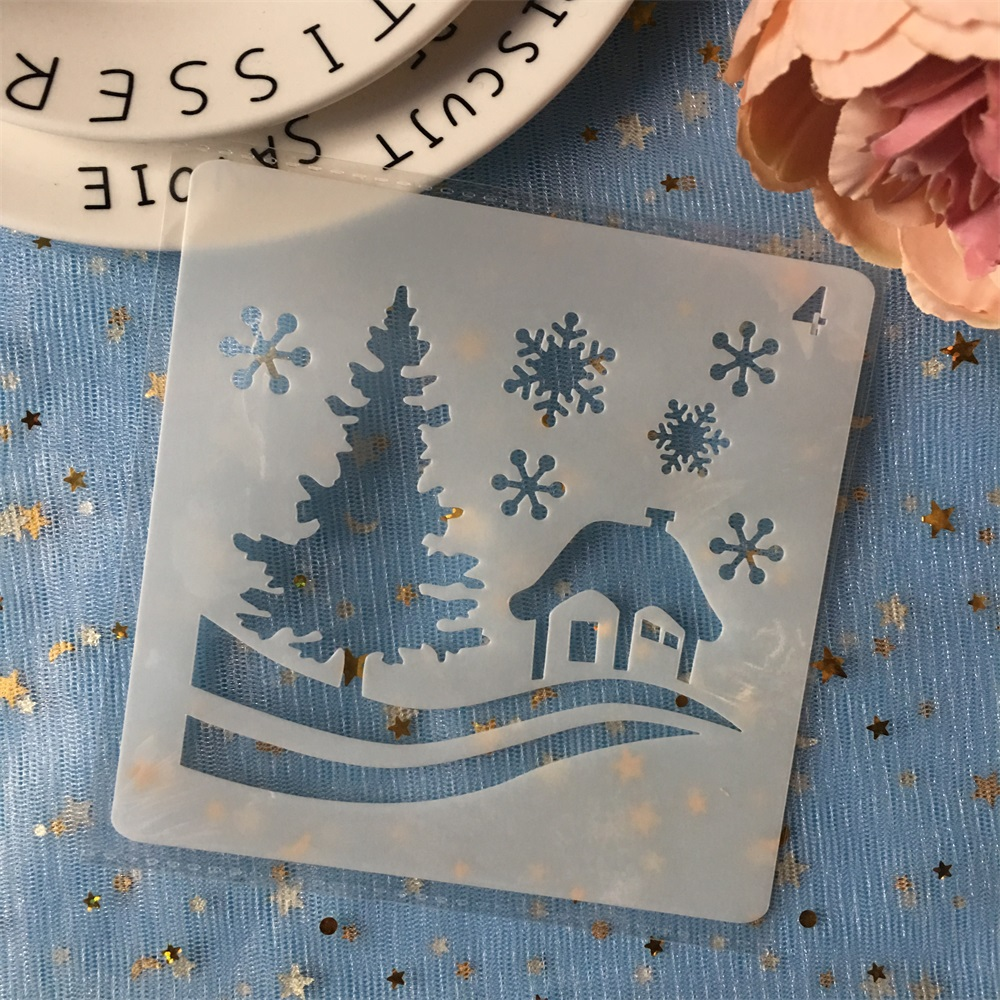 New 13cm Christmas House Snow DIY Layering Stencils Painting Scrapbook Coloring Embossing Album Decorative  Template