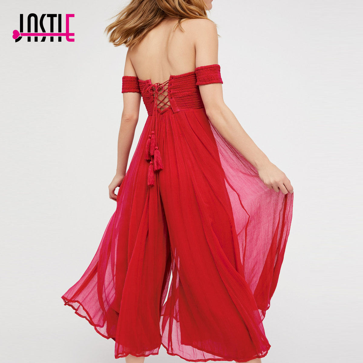 Jastie Off-The-Shoulder Jumpsuit Crinkle Chiffon Wide Leg Overalls Elastic Top Playsuits Rompers Lace-up Back Women Jumpsuit white lace details off shoulder playsuits with belt