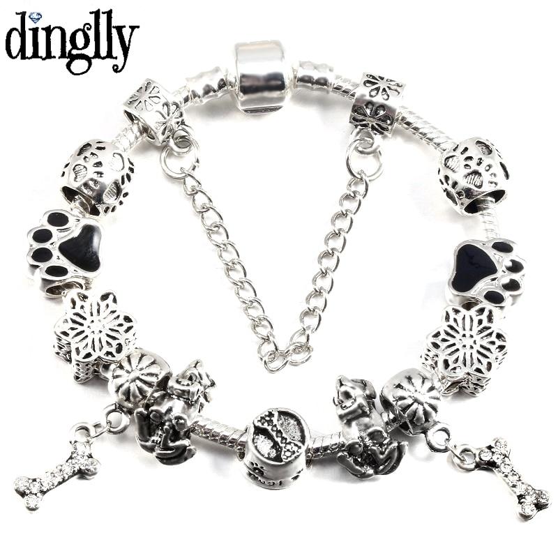 DINGLLY Snake Bracelets For Women Men DIY Cartoon Dog Footprints Beads Shiny Bones Charms kids Bracelets & Bangles Jewelry Gift(China)