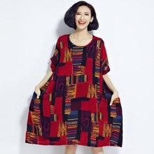 2017 Big Size Summer Womens T-Shirt Cotton Linen Stripe Plaid print Feminine Tops Fashion Loose Vintage Long T-Shirt Red Green