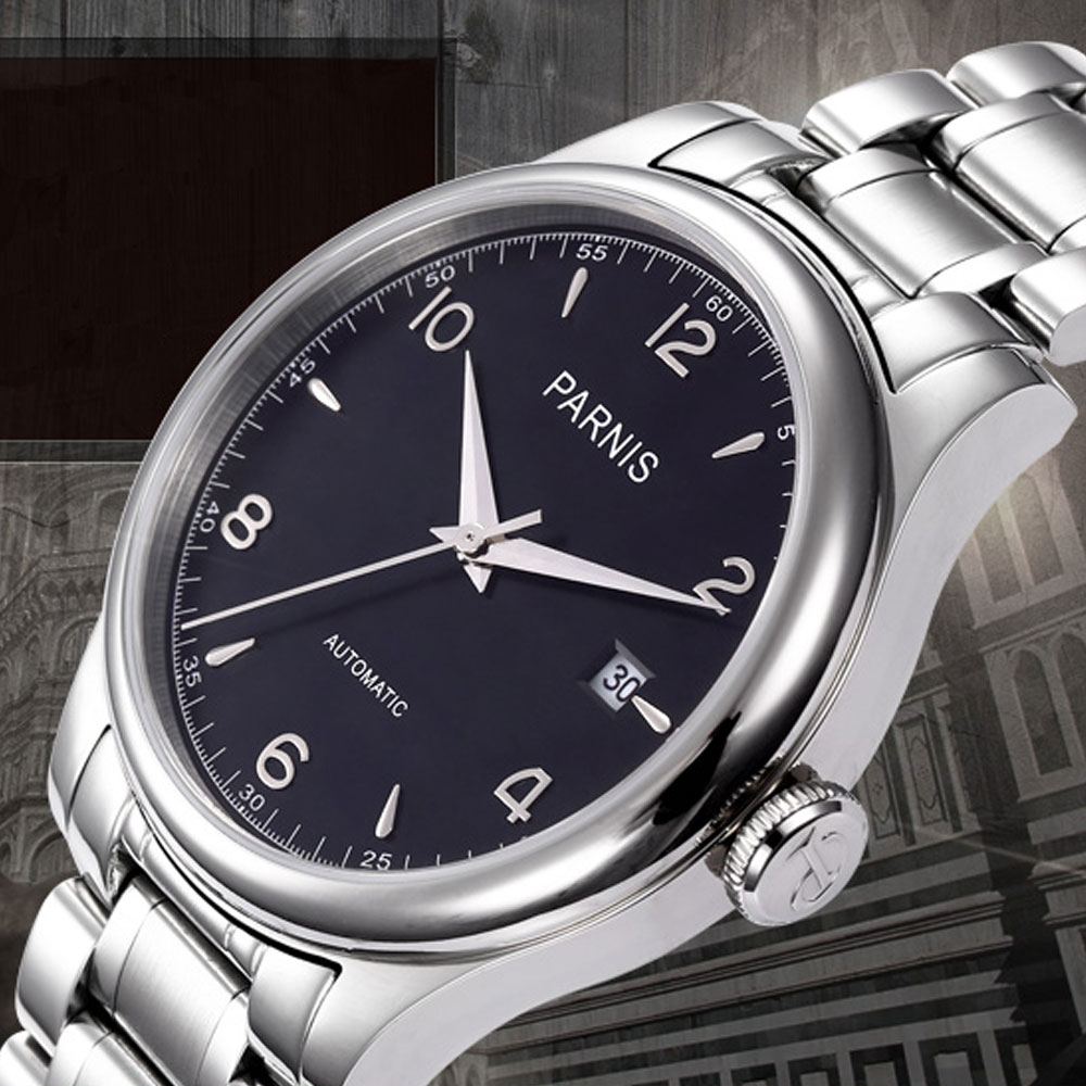 PARNIS 38mm Top Brand Luxury Mechanical Watches Full Stainless Steel Black dial Automatic Movement Watch Men relogio masculino read brand tops automatic watches men minimalism luxury black watch men full steel relogio japan movement week and date 8082