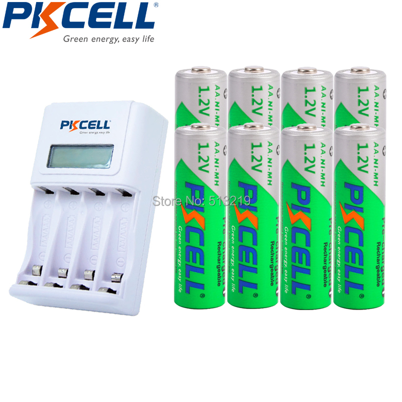 8xNIMH 1.2V 2200MAH Low Self Discharge AA Rechargeable Batteries LSD and 4slot EU/US LCD Indicator Charger For AA/AAA NICD/NIMH camelion alwaysready 2300mah low self discharge ni mh aa rechargeable batteries 4 pcs