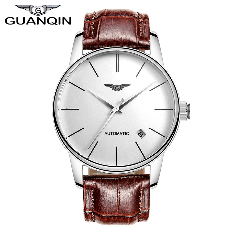dd73a5a84b6 Quality GUANQIN Watches Men Top Luxury Brand Automatic Mechanical Watch  Sapphire Waterproof Watches Leather Male Wristwatches