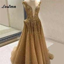 Robe De Soiree Gold Beaded Evening Dresses Custom Made Formal Dress Abendkleider 2018 Kaftan Dubai Dress Prom Dress Abiye