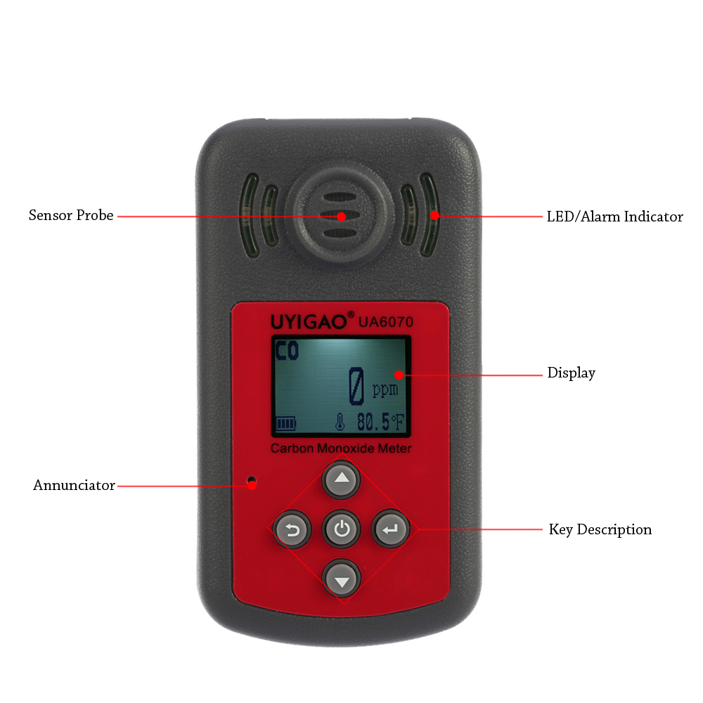 Digital Carbon Monoxide Meter Mini CO Tester Monitor Gas analyzer LCD gas leak detector with Sound Light Alarm 0-2000ppm
