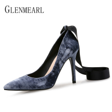 Women Shoes High Heels Pointed Toe Woman Pumps Party Shoes Spring Velvet Lace-up Office Ladies Shoe Dress Plus Size Female Pumps