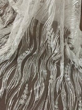 good looking embroidery tull net lace fabric romantic sequins lace SYJ-6147 for evening dress/fashion show
