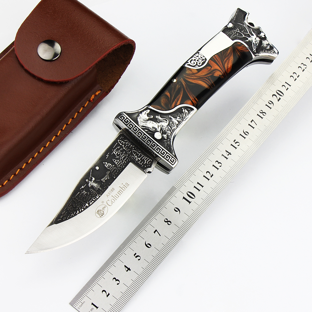 HOT! Outdoor Hunting Folding Knife Ebony Handle+D2 Blade Camping Tactical Survival Knives Outdoor Rescue Practical EDC Tools outlife new style professional military tactical multifunction shovel outdoor camping survival folding spade tool equipment