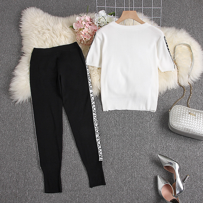 Summer Trendy Knitted Tiger Sweater + Pencil Pants 1