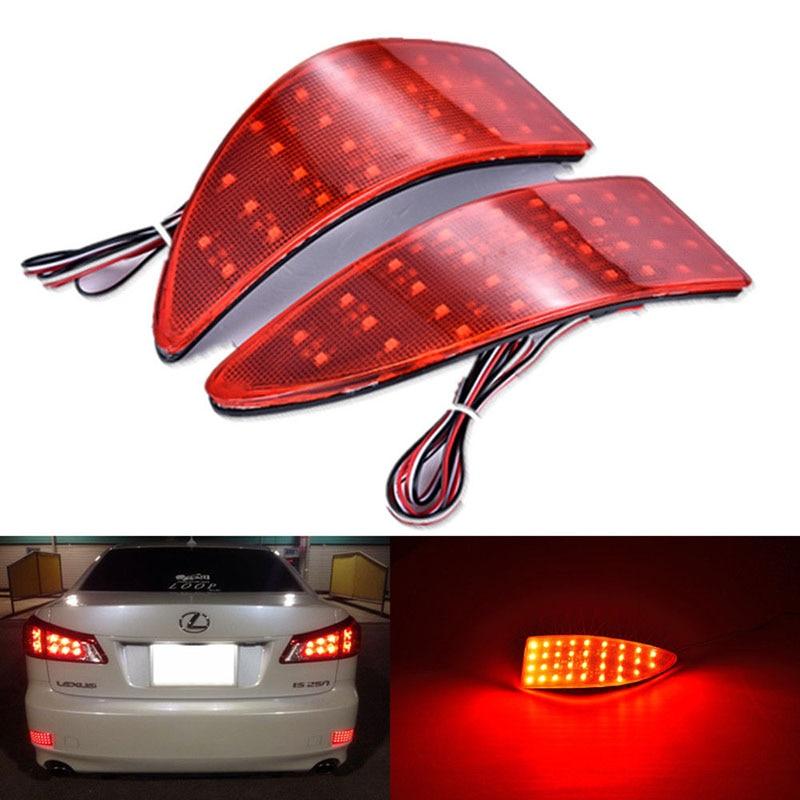 Free shipping Car Red Len Rear Bumper Reflector LED Stop Brake Light Tail Fog Parking Lamp for 2006-2013 Lexus IS250/IS300/IS350 free shipping abs red tail light lamp