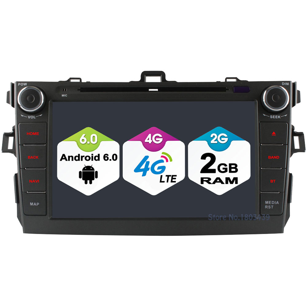 8 2GB RAM 32GB ROM Android 6.0 Octa Core 4G WIFI DAB BT Car DVD Player Radio Stereo For Toyota Corolla 2006-2011 GPS Navigation