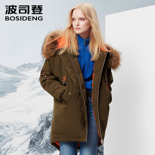 BOSIDENG Женская куртка-пуховик средней длины зимняя утепленная пуховая парка свободная водостойкая высокое качество воротник из натурального меха B70142156
