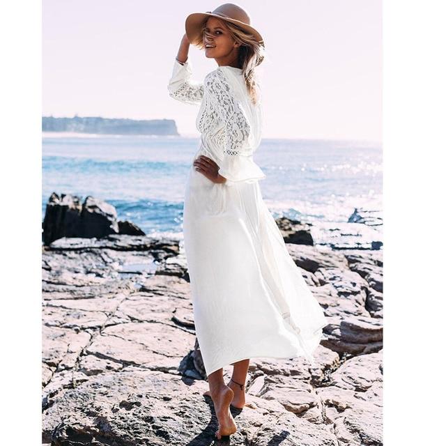 947b9ac989d Ordifree 2019 Boho Long Tunic Beach Dress Summer White Lace Sundress  Beachwear Belted Long Sleeve Sexy Maxi Dress