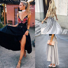 Summer Ladies Solid Color Casual Long Skirts Fashion Women Women High Waisted Slip Satin Stretch Skirt