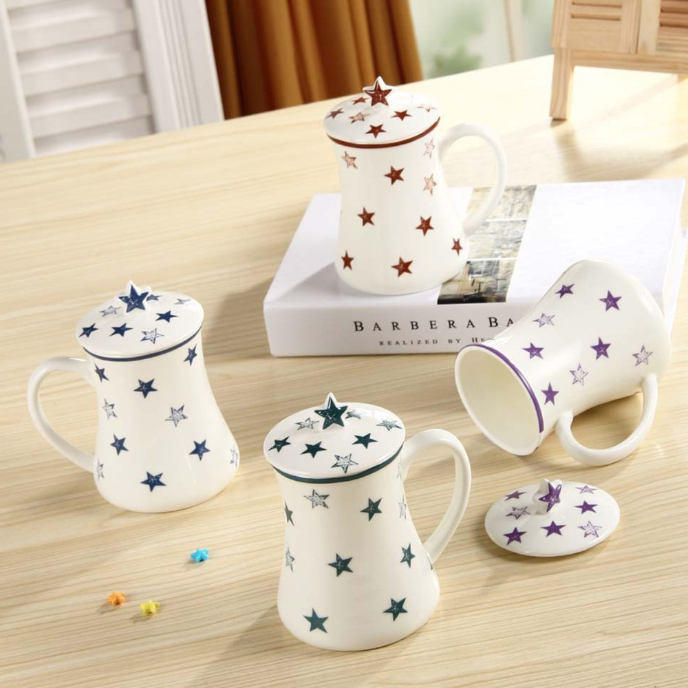 1Pcs New KEYAMA Cute Pentagram pattern ceramic breakfast milk mugs with a ceramic lid Office coffee cups Home Couple cups gifts