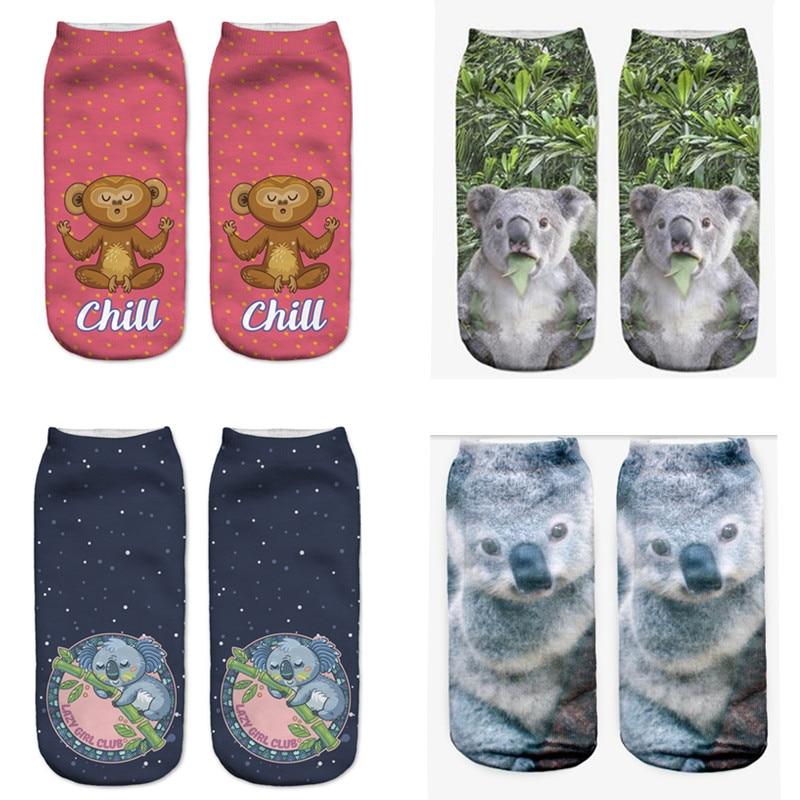 SLMVIAN Surprised Koala Harajuku 3D Printed Food Women's Socks Calcetines Casual Charactor Socks Unisex Low Cut Ankle Socks
