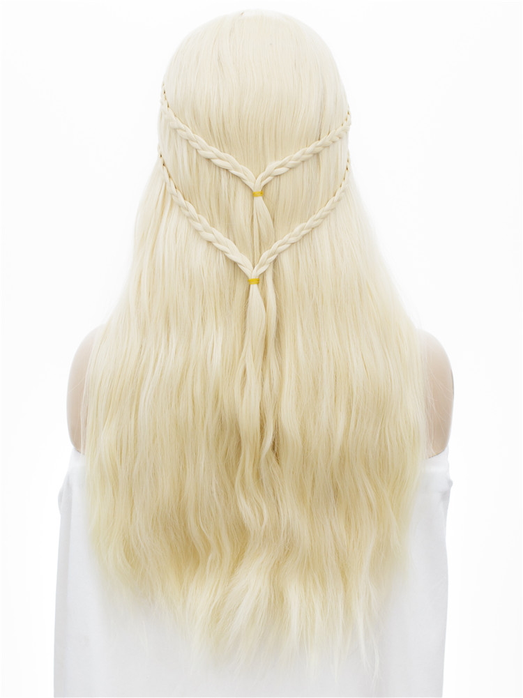Imstyle Off-White Blonde Wigs Cosplay Straight Synthetic Wig Long Natural Hair With Braids For Women 24 inches